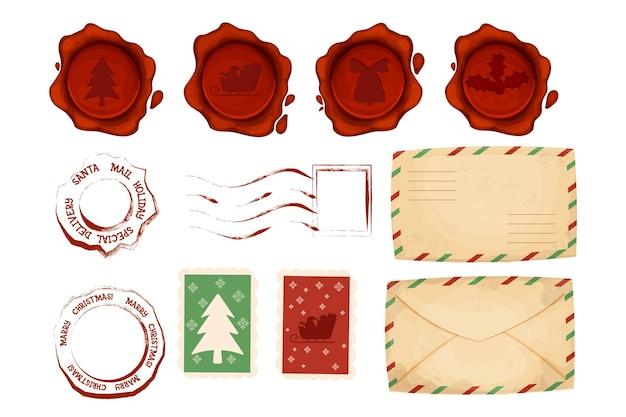Świąteczne znaczki pocztowe i stempel pocztowy z kopertą lakową pieczęcią w stylu cartoon