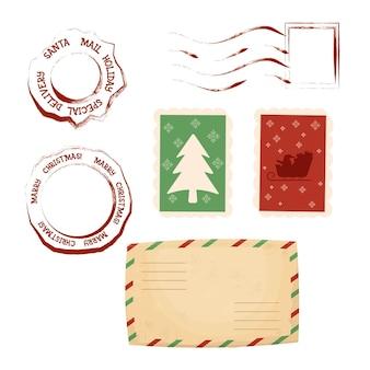 Świąteczne znaczki pocztowe i stempel pocztowy z kopertą w stylu cartoon