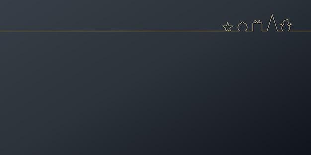 Świąteczne życzenia prezentacja transparent tło z ikoną prezentu choinki i gwiazdami na czarnym kolorze...