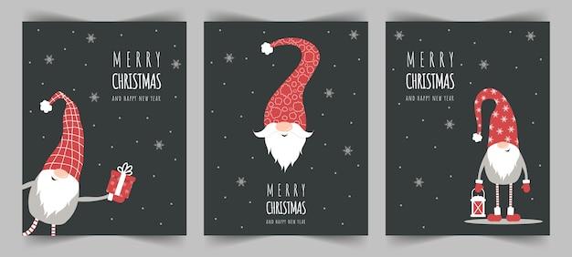 Świąteczne życzenia. świąteczne kartki skandynawskie. śliczne małe gnomy w czerwonych czapkach.