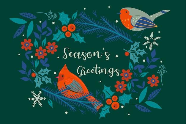 Świąteczne życzenia . wieniec bożonarodzeniowy i ptaki.
