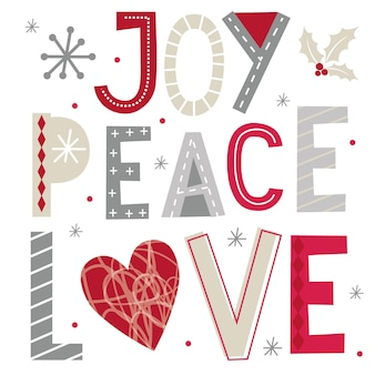 Świąteczne życzenia z typografią radości, pokoju i miłości