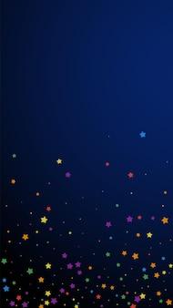 Świąteczne, żywe konfetti. gwiazdy uroczystości. radosne gwiazdy na ciemnoniebieskim tle. świetny świąteczny szablon nakładki. pionowe tło wektor.