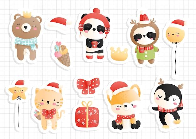 Świąteczny arkusz naklejek ze zwierzętami leśnymi, terminarz i notatnik.