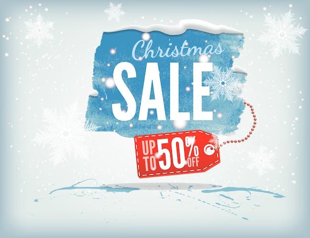 Świąteczny atramentowy baner z tagiem na zakupy i płatkami śniegu