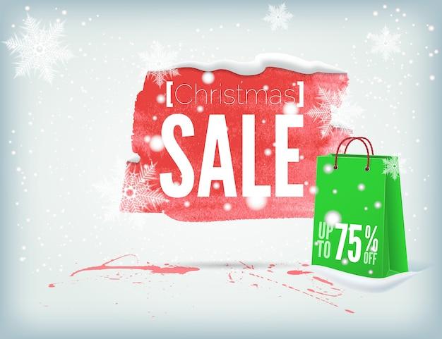 Świąteczny atramentowy baner z torbą na zakupy i płatkami śniegu