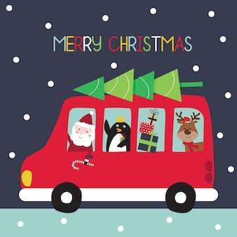 Świąteczny autobus z mikołajem i przyjacielem uroczą świąteczną postacią