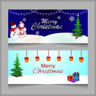 Świąteczny baner lub hader z mikołajem i kulkami lodu oraz dekoracjami z prezentem lub światłami