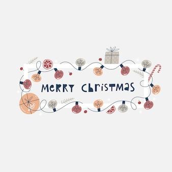 Świąteczny baner lub kartka z życzeniami z kolorowymi żarówkami, pudełkami na prezenty i gałęziami jodły.