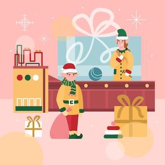 Świąteczny baner lub plakat z kreskówką fabryki zabawek santas