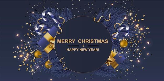 Świąteczny baner pocztówka tło świąteczny projekt pudełka na prezenty ozdobne zielone drzewo sosnowe