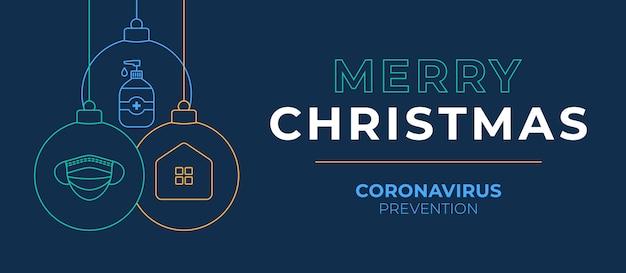 Świąteczny baner z koronawirusem