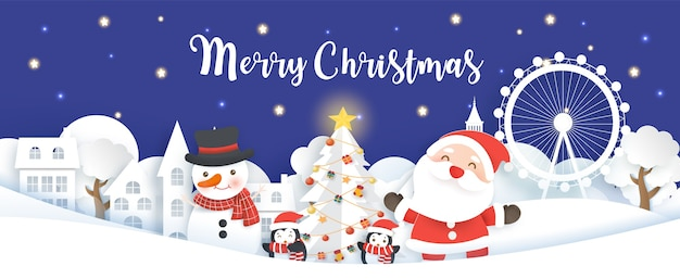 Świąteczny baner z mikołajem, bałwanem i pingwinami w wyciętej z papieru wiosce śnieżnej i stylu rękodzieła.