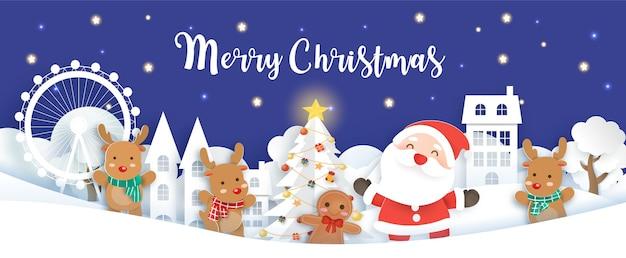 Świąteczny baner z mikołajem i elementami świątecznymi.