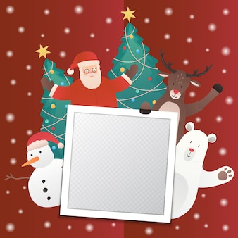 Świąteczny baner z mikołajem i przyjaciółmi oraz pustą ramką na zdjęcia
