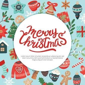 Świąteczny baner z napisem i uroczymi elementami sezonowymi
