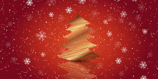 Świąteczny baner ze złotym wzorem drzewa kulas