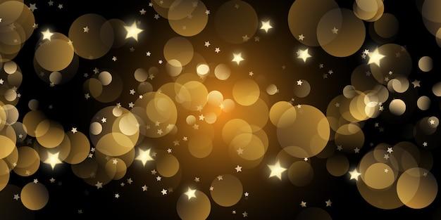 Świąteczny baner ze złotymi światłami bokeh i gwiazdami