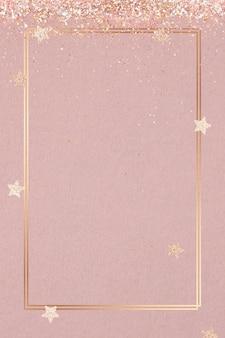Świąteczny błyszczący wektor rama różowy wzór gwiazdy pink