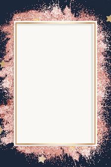 Świąteczny błyszczący wektor rama różowy wzór gwiazdy