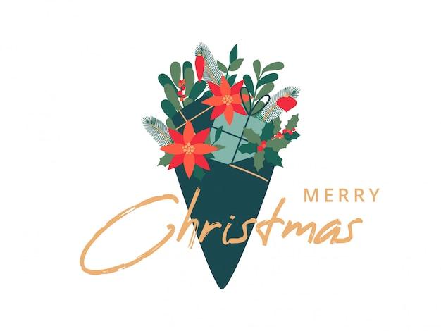 Świąteczny bukiet z liści ostrokrzewu, jemioły, gałęzi sosny, poinsecji i prezentów.
