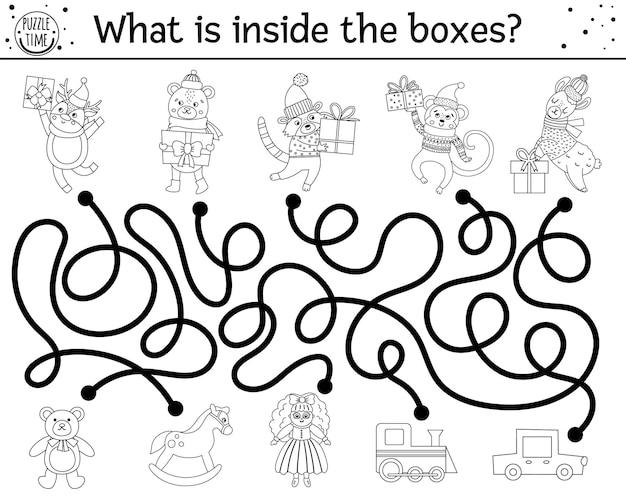 Świąteczny czarno-biały labirynt dla dzieci zimowy nowy rok przedszkole aktywność do druku