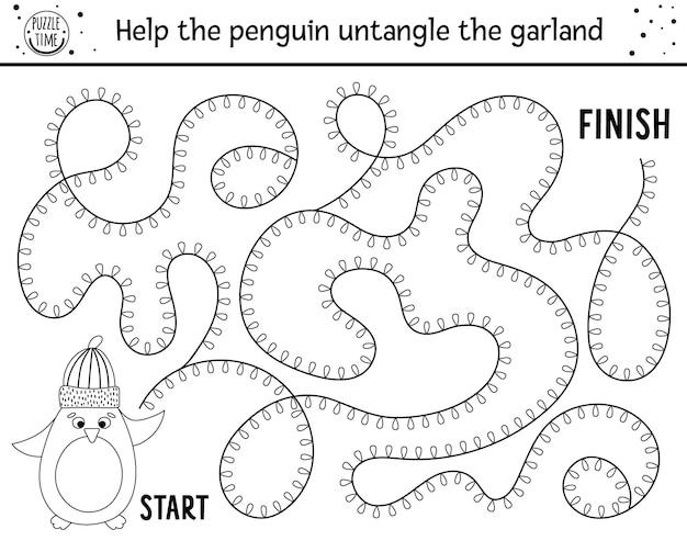 Świąteczny czarno-biały labirynt dla dzieci. zimowy nowy rok przedszkole do wydrukowania działalności edukacyjnej lub kolorowanki. zabawna gra wakacyjna lub puzzle z uroczym pingwinem w kapeluszu i girlandzie.