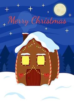 Świąteczny dekorowany dom stojący na śniegu pod gwiazdą i księżycem świecące girlandy i światła na domu