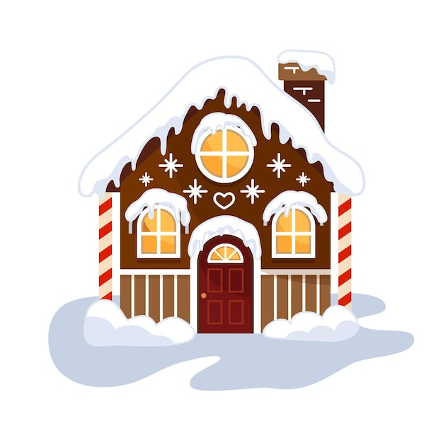 Świąteczny domek z piernika. ładny i uroczy domek.