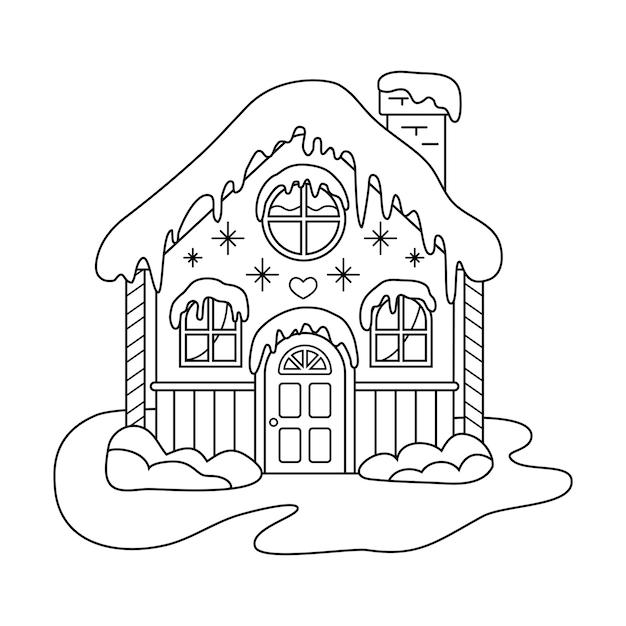 Świąteczny domek z piernika. obraz do kolorowania.