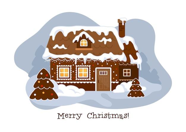 Świąteczny domek z piernika. uroczy i uroczy domek. wesołych świąt!