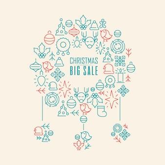 Świąteczny duży plakat sprzedaży z czerwoną i niebieską ilustracją świątecznych symboli