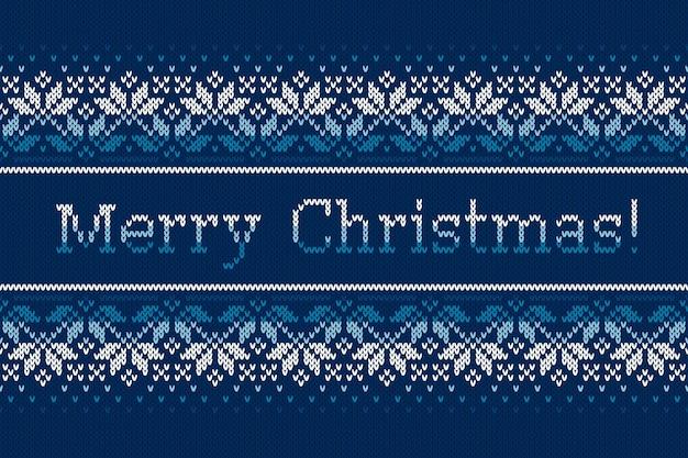 Świąteczny dzianinowy wzór z płatkami śniegu i tekstem powitania wesołych świąt