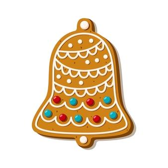 Świąteczny dzwonek z piernika. domowe ciasteczka. ilustracja wektorowa