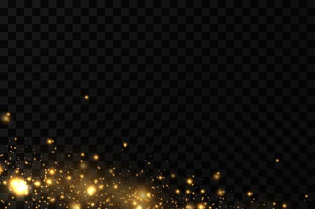 Świąteczny efekt świetlny błyszczące magiczne drobinki kurzu iskry kurzu i złote gwiazdki lśnią