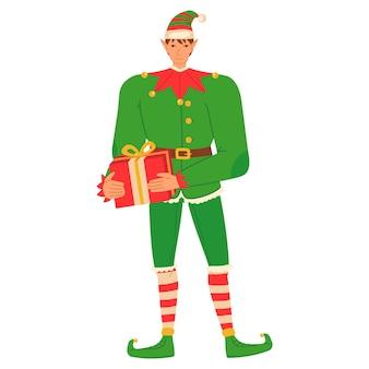 Świąteczny elf daje prezent w stylu płaskiej kreskówki