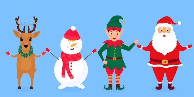 Świąteczny elf, święty mikołaj, bałwan i jeleń.