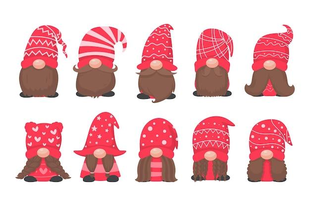 Świąteczny gnom. mały gnom w czerwonym wełnianym kapeluszu. świętuj w boże narodzenie