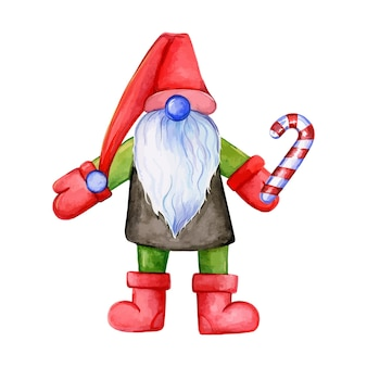 Świąteczny gnom trzyma gnom z trzciny karmelowej święty mikołaj akwarelową ilustrację