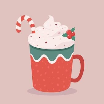Świąteczny gorący napój z cukrową laską wesołych świąt filiżanka kawy z gorącą czekoladą