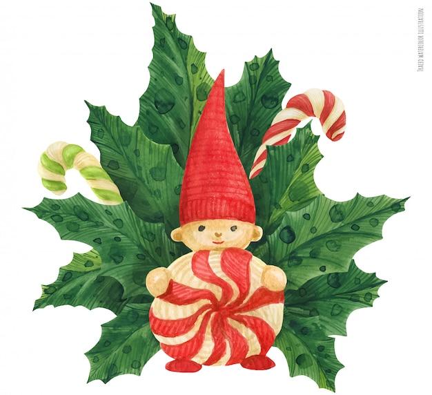 Świąteczny holly bukiet z czerwonym gnomem, prześledzonymi akwarelami