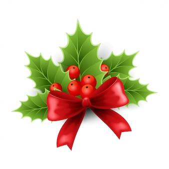 Świąteczny holly i czerwona kokarda
