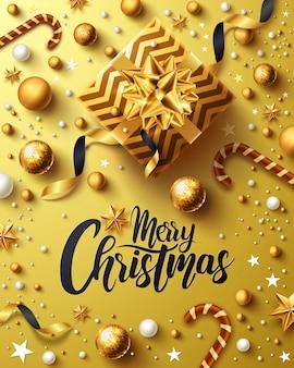 Świąteczny i noworoczny złoty plakat ze złotym pudełkiem