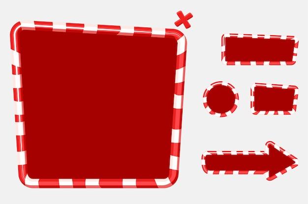 Świąteczny interfejs użytkownika do projektowania gier mobilnych lub komputerowych. guziki, tablice i ramka