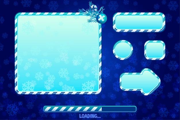 Świąteczny interfejs użytkownika i elementy do projektowania gier lub stron internetowych. kreskówka przyciski, deski i ramka. interfejs ładowania gry.