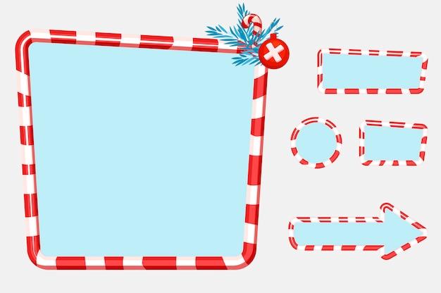 Świąteczny interfejs użytkownika i elementy do projektowania gier lub stron internetowych przyciski, tablice i ramki. obiekty na osobnej warstwie.