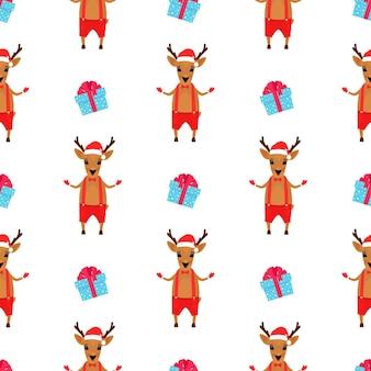 Świąteczny jeleń w krótkich spodenkach i czapce mikołaja. nowy rok wzór.