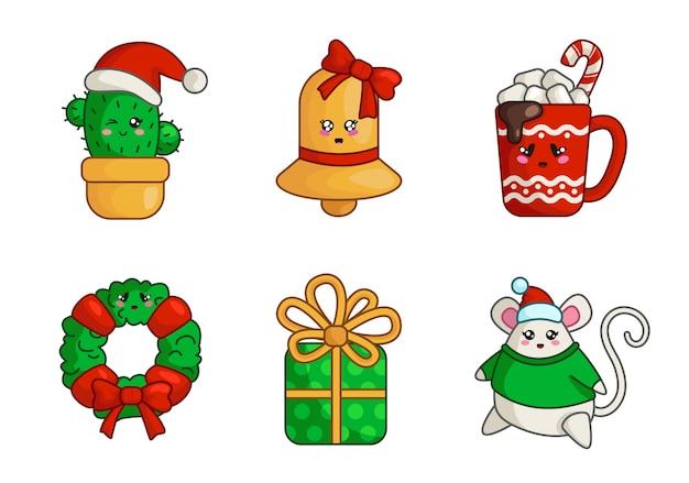 Świąteczny kaktus kawaii, złoty dzwonek, pudełko, gruba mysz, kubek gorącego napoju, wieniec,
