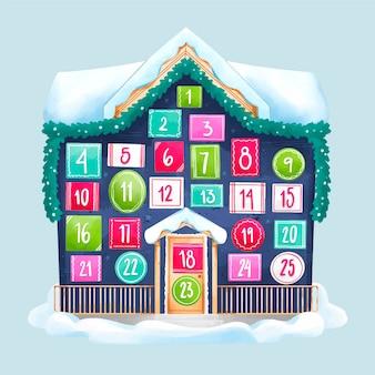 Świąteczny kalendarz adwentowy akwarela
