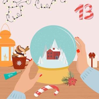 Świąteczny kalendarz adwentowy. diy kula śnieżna. widok z góry na przebieg pracy.